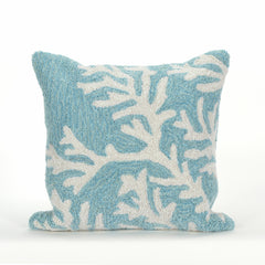 "Liora Manne Frontporch Coral Indoor/Outdoor Pillow Blue 18"" Square"