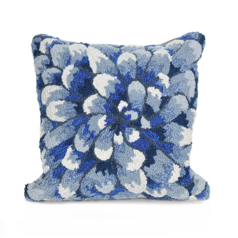 Liora Manne Frontporch Mum Indoor/Outdoor Pillow Blue 18 Square