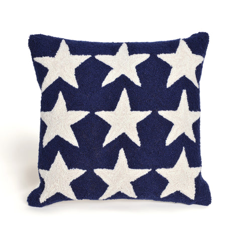 Liora Manne Frontporch Stars Indoor/Outdoor Pillow Blue 18 Square