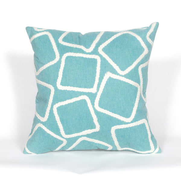 Liora Manne Visions I Squares Indoor/Outdoor Pillow Blue 20 Square