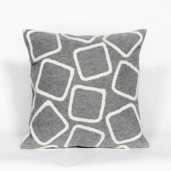 Liora Manne Visions I Squares Indoor/Outdoor Pillow Silver 12X20