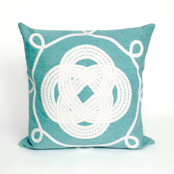 Liora Manne Visions II Ornamental Knot Indoor/Outdoor Pillow Blue 20 Square