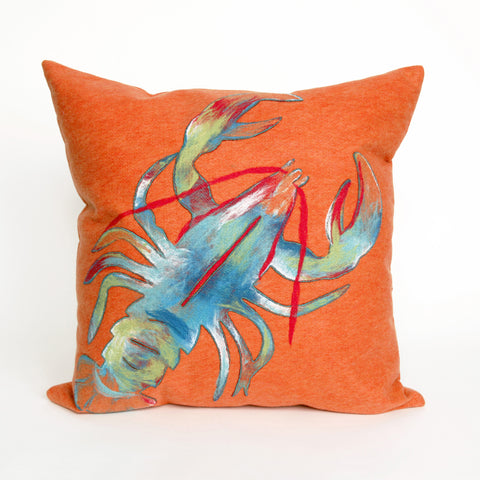 Liora Manne Visions II Lobster Indoor/Outdoor Pillow Orange 20 Square