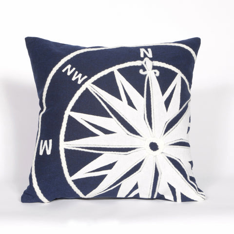 Liora Manne Visions II Compass Indoor/Outdoor Pillow Navy 20 Square