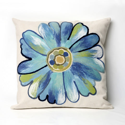 Liora Manne Visions III Daisy Indoor/Outdoor Pillow Blue 20 Square