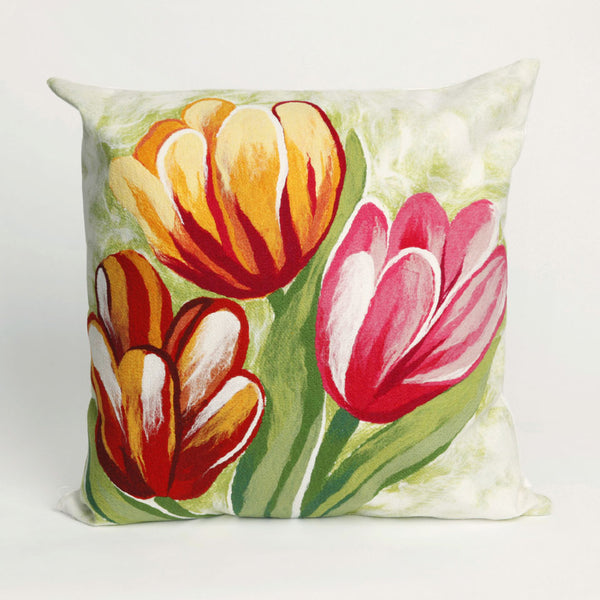 "Liora Manne Visions III Tulips Indoor/Outdoor Pillow Red 20"" Square"