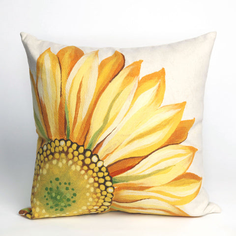Liora Manne Visions III Sunflower Indoor/Outdoor Pillow Yellow 20 Square