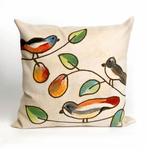 Liora Manne Visions III Song Birds Indoor/Outdoor Pillow Ivory 20 Square