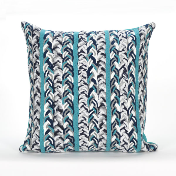 Liora Manne Visions III Braided Stripe Indoor/Outdoor Pillow Blue 12X20