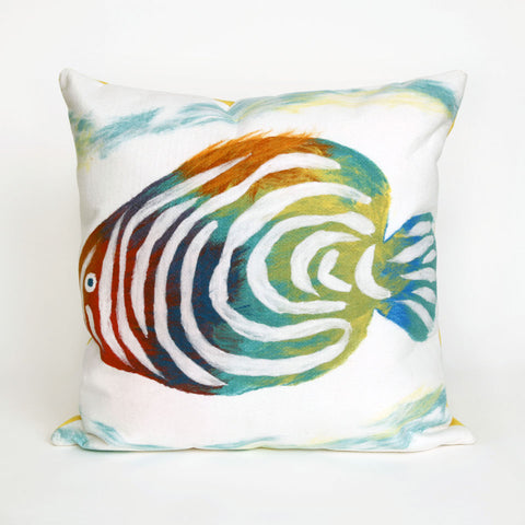 Liora Manne Visions III Rainbow Fish Indoor/Outdoor Pillow Green 20 Square