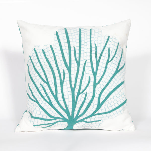 Liora Manne Visions III Coral Fan Indoor/Outdoor Pillow Blue 20 Square