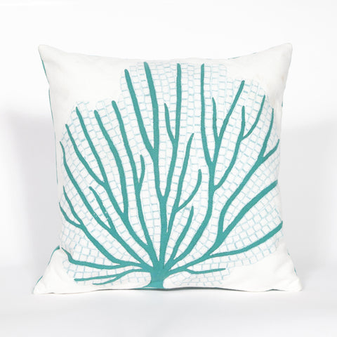 Liora Manne Visions III Coral Fan Indoor/Outdoor Pillow Blue 12X20