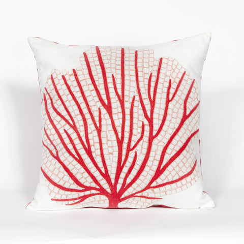 Liora Manne Visions III Coral Fan Indoor/Outdoor Pillow Orange 20 Square