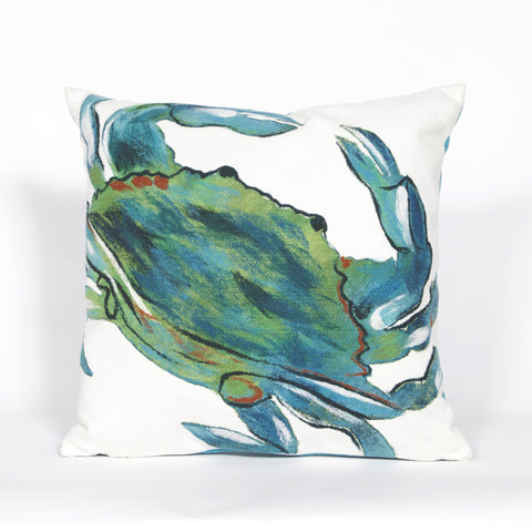 Liora Manne Visions III Blue Crab Indoor/Outdoor Pillow Blue 20 Square