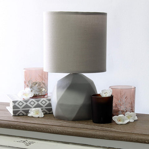 Simple Designs LT2060-GRY Geometric Concrete Table Lamp, Gray
