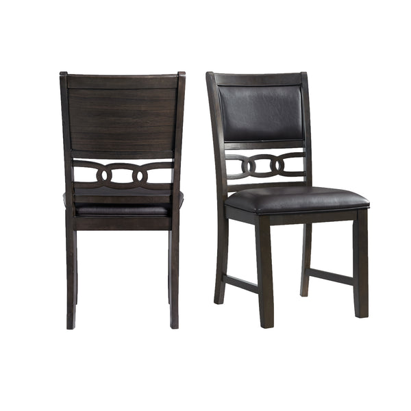 Picket House Furnishings Taylor Standard Height Faux Leather Side Chair Set in Walnut