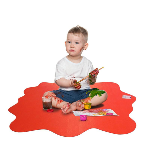 Floortex Multi-Purpose High Chair / Play Mat. Smooth back for use on hard floors. Volcanic Red. 40 x 40 (max)
