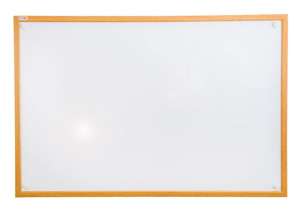 "Viztex Lacquered Steel Magnetic Dry Erase Boards with an Oak Effect Surround (24""x18"")"