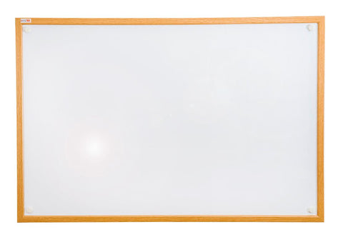 Viztex Lacquered Steel Magnetic Dry Erase Boards with an Oak Effect Surround (24x18)