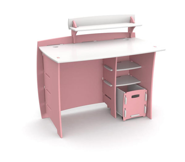 "Kids' Complete Desk System Set, Pink and White, 43"" x 39"" x 27"""