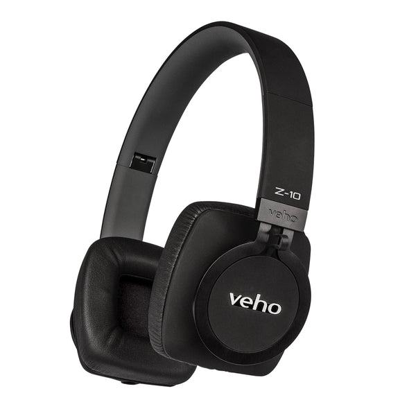 Veho Z-10 On-Ear Wired Premium Headphones | Black Edition | Aluminium Design | Stereo | Microphone | Remote Control | Detachable Cord | Flex Anti-Tangle Cable - Black (VEP-010-Z10)