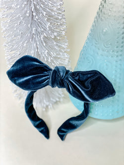 Dusty Blue Velvet Knot Band