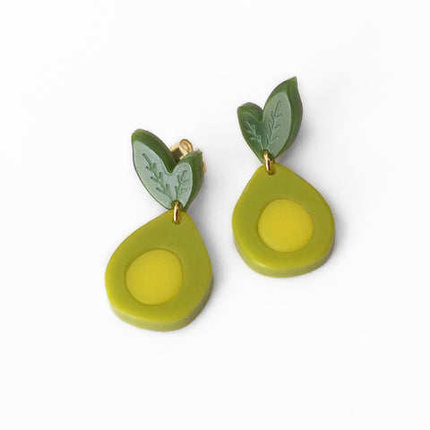 acrylic mini avocado earrings