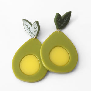 acrylic avocado earrings