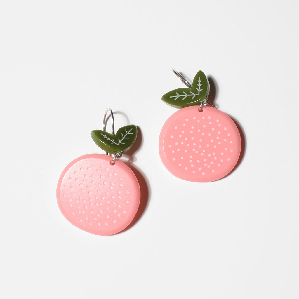 Medium Grapefruit Earrings on a Silver Earhook by WOLL