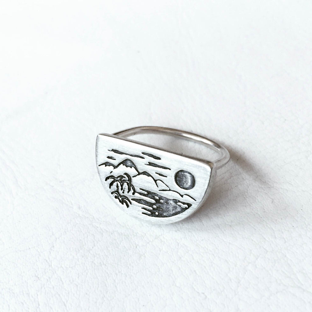 Tropical Half Moon Ring - Size 7