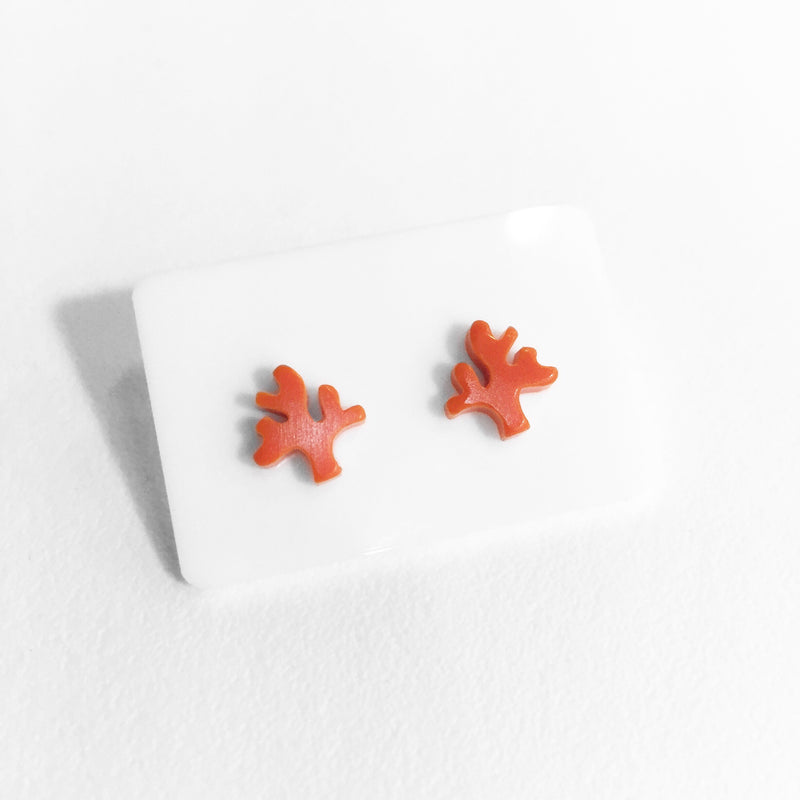 acrylic red coral stud earrings