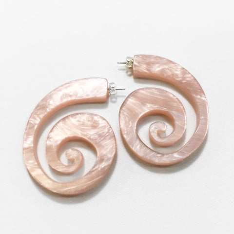 acrylic spiral shell hoop earrings