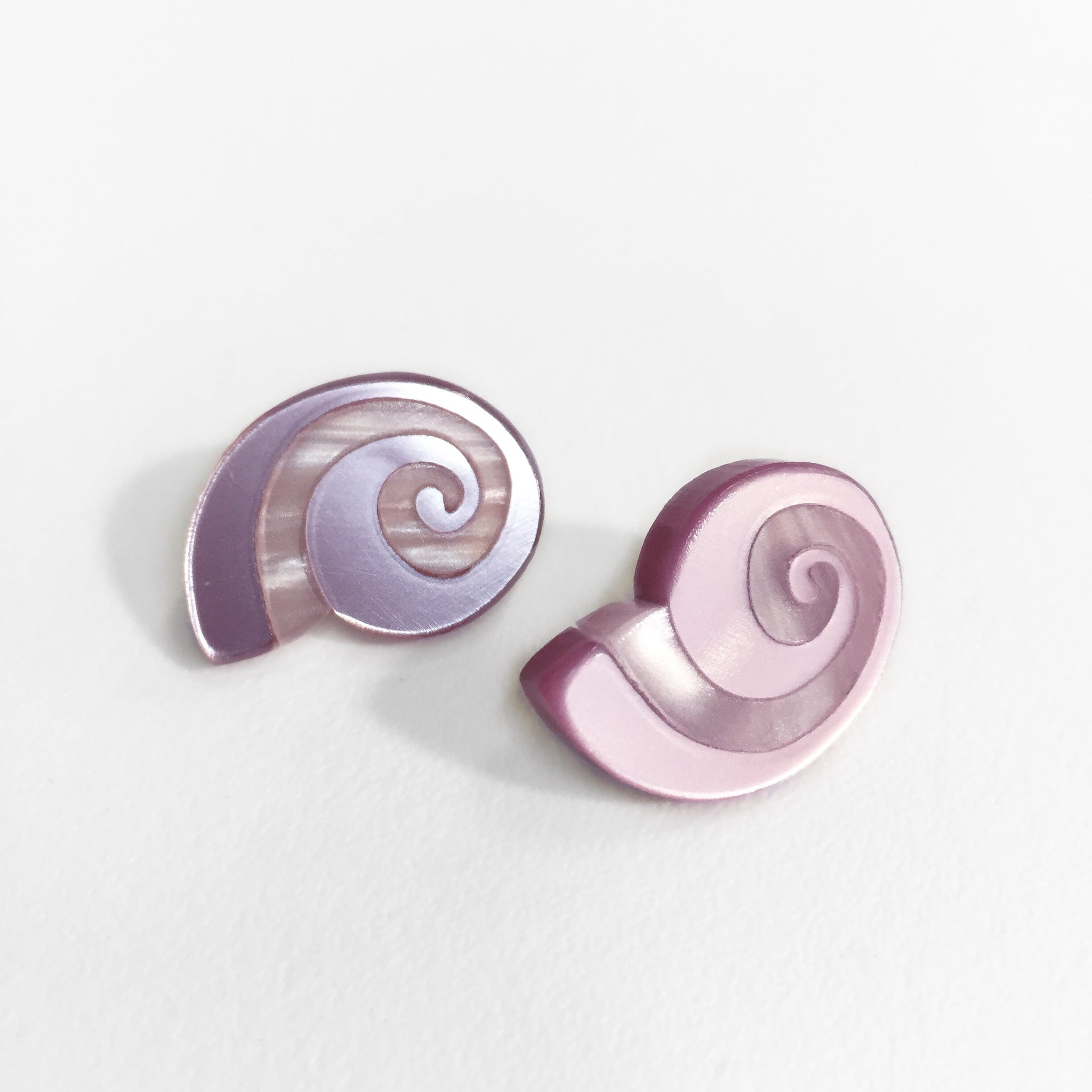 Spiral Shell Inlay Post Earring