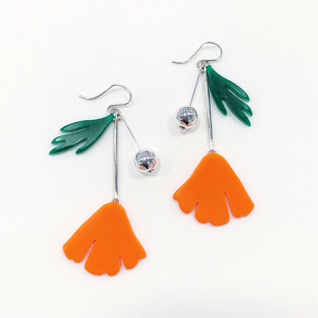 California Poppy Charm Earrings - Orange