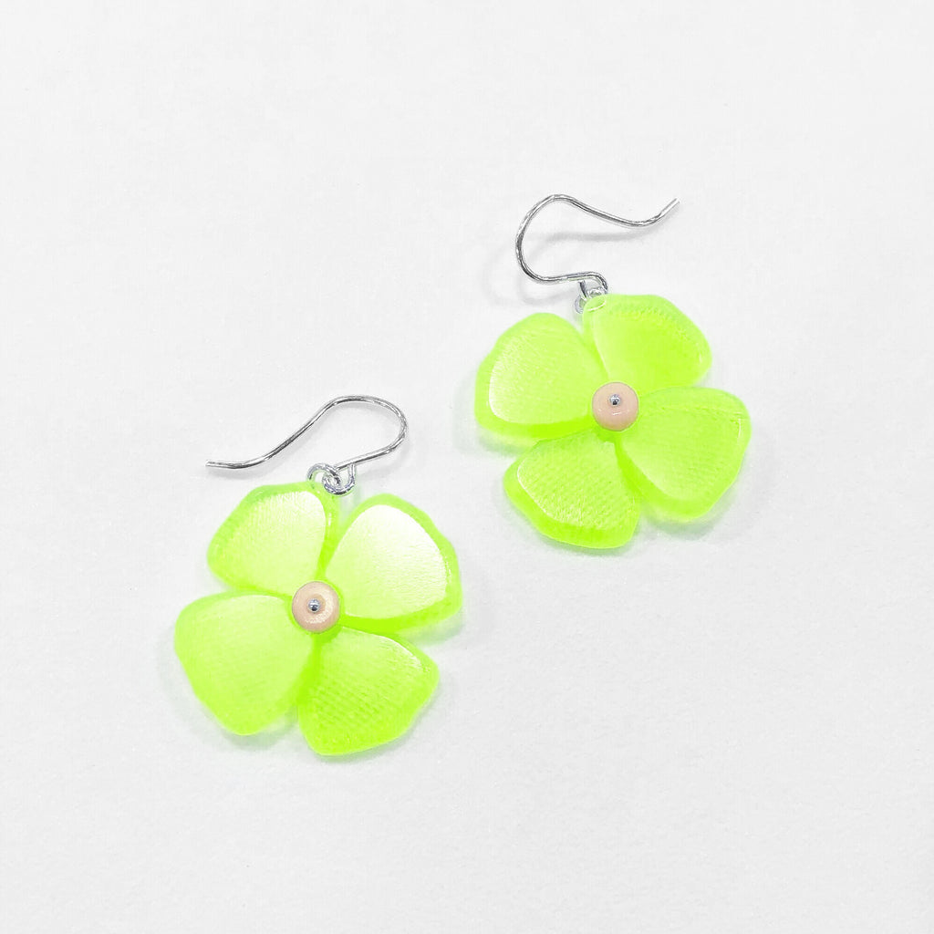 California Poppy Earrings in Neon Green Etch - Small