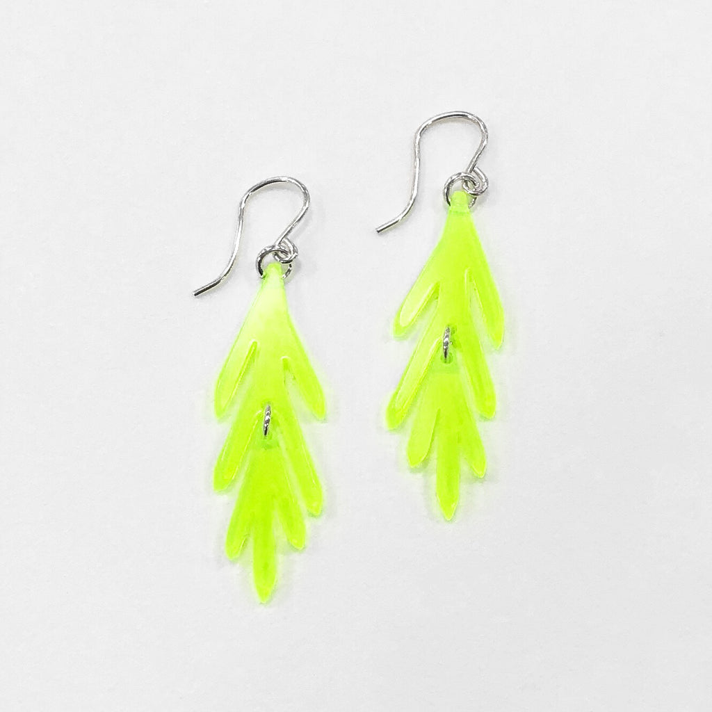 leaf earrings neon green