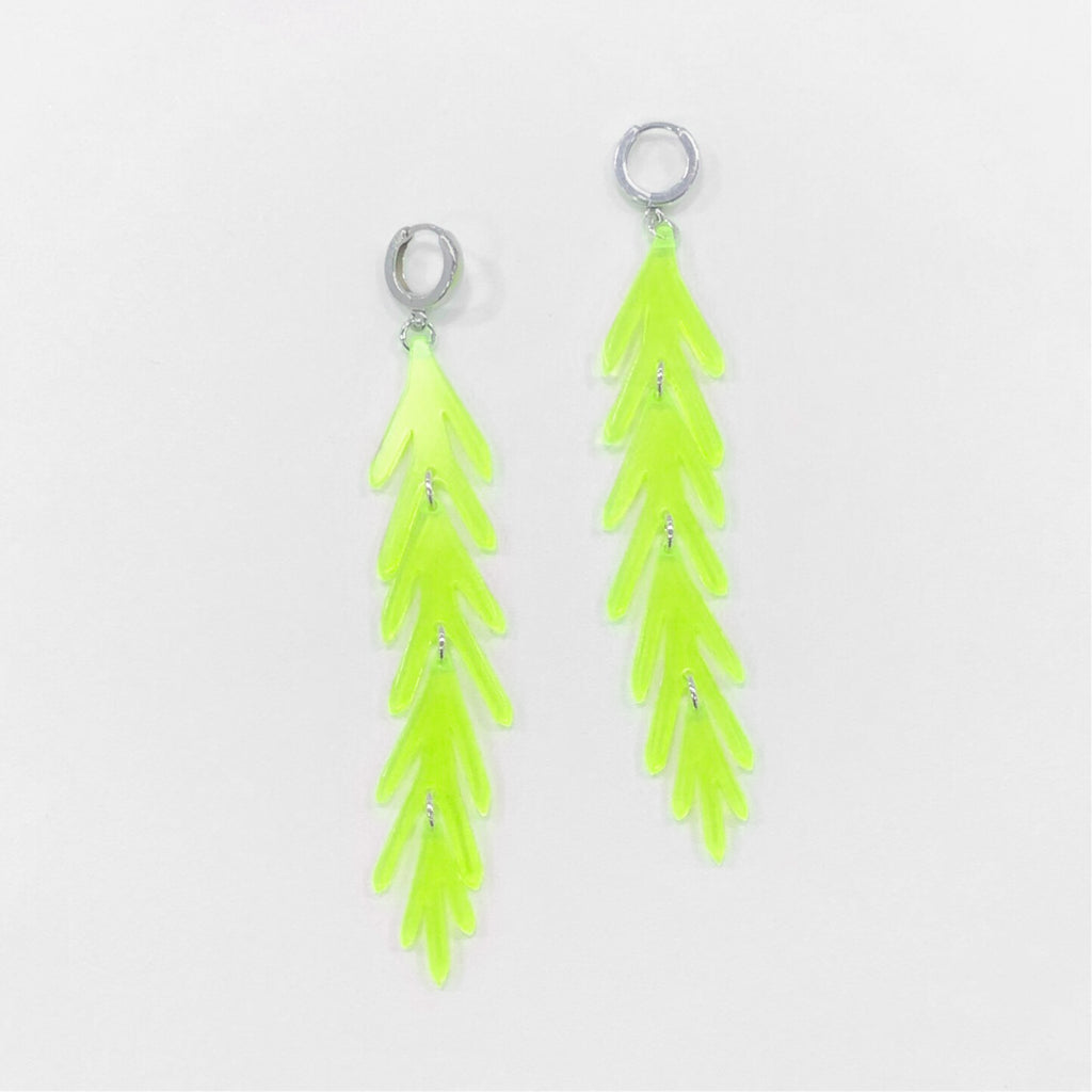 Long Leaf Earrings on Hoop