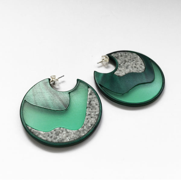 acrylic green rock hoop earrings