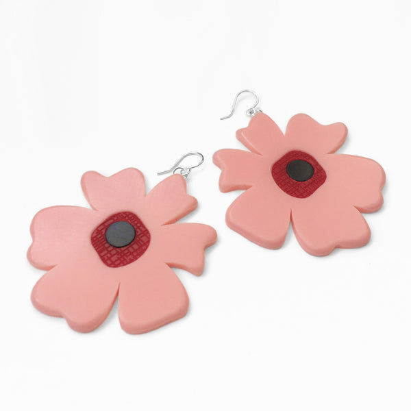 acrylic pink poppy earrings