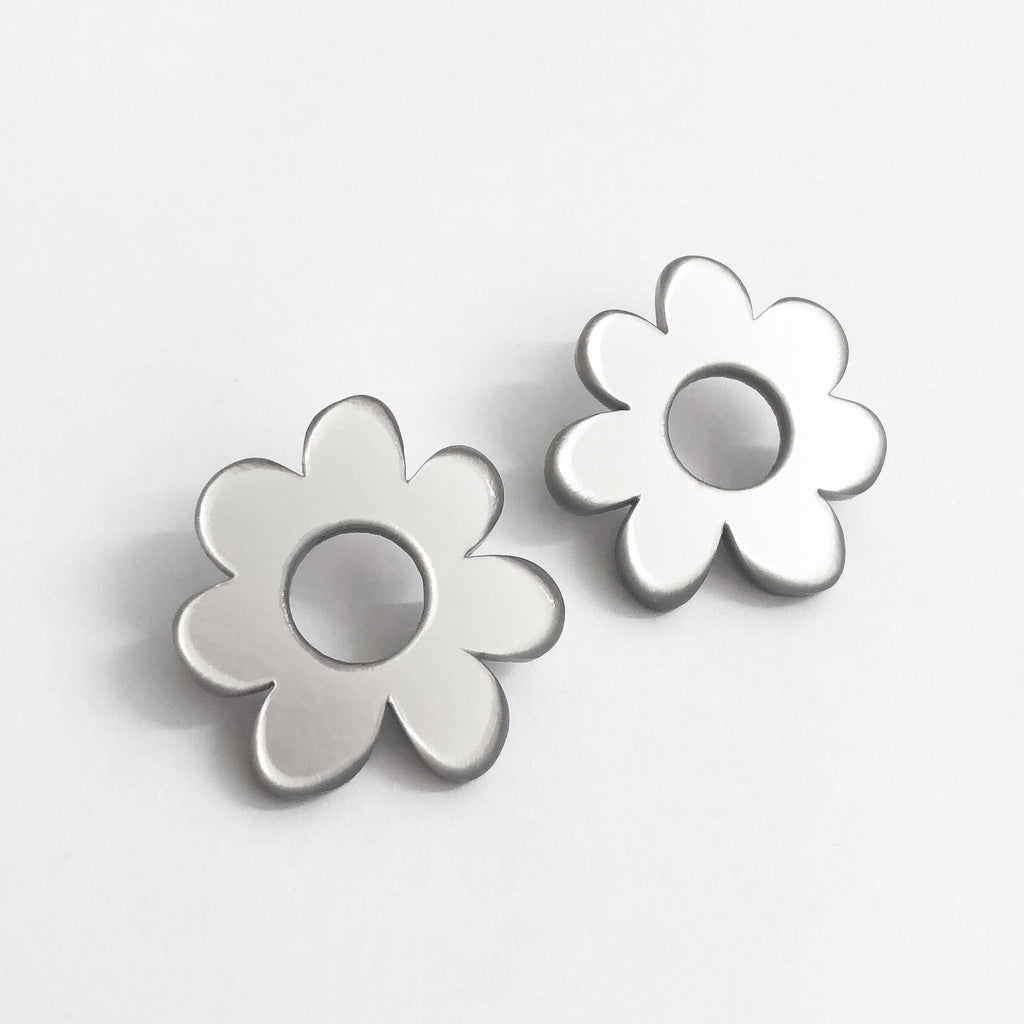 silver modern flower earrings