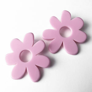 large lilac flower earrings by woll