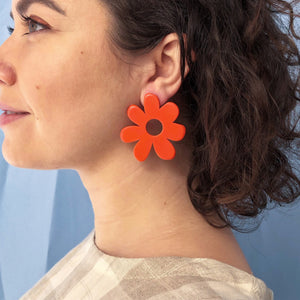 large mod flower earrings in orange