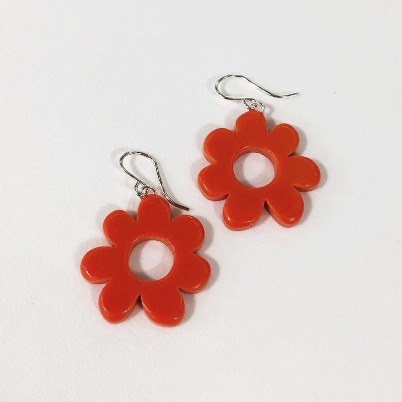 dangle flower earrings in red