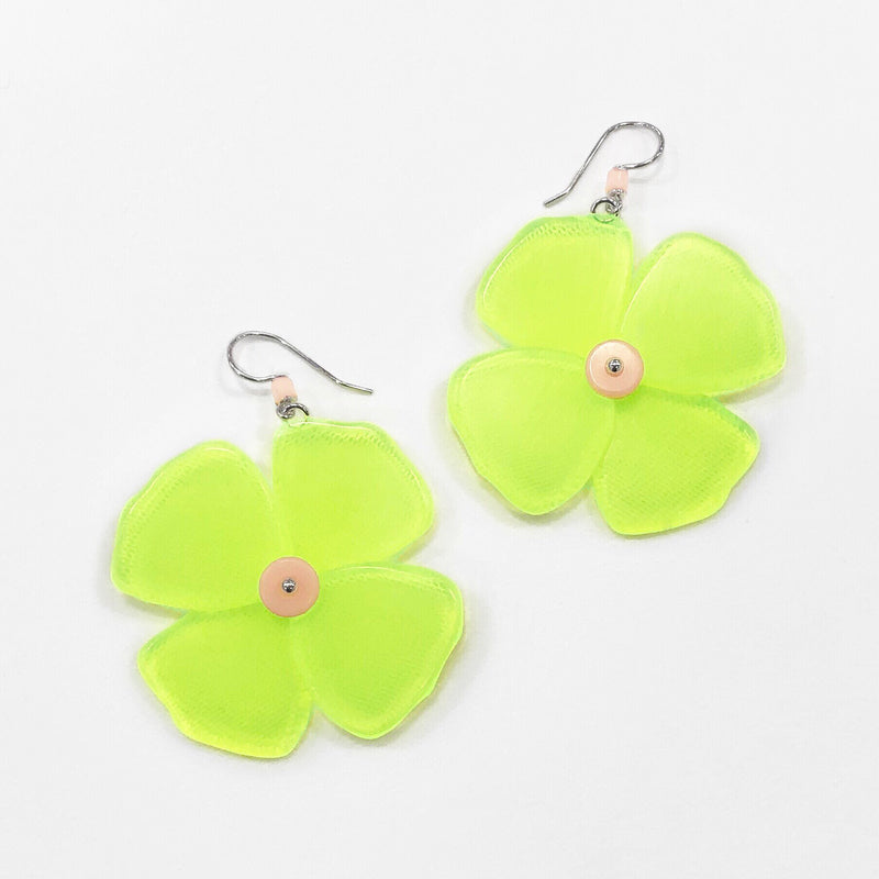 neon green flower earrings