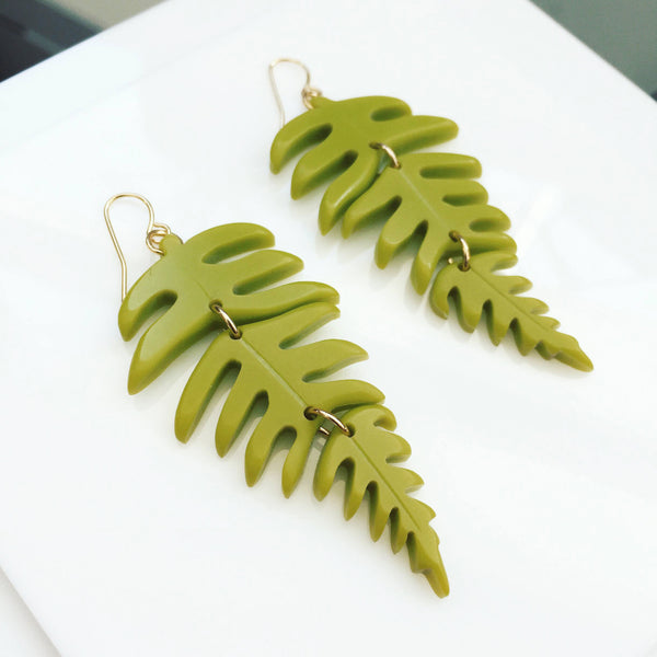acrylic fern earrings