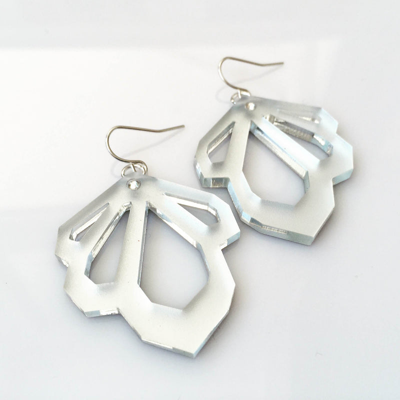 Silver Facet Earrings