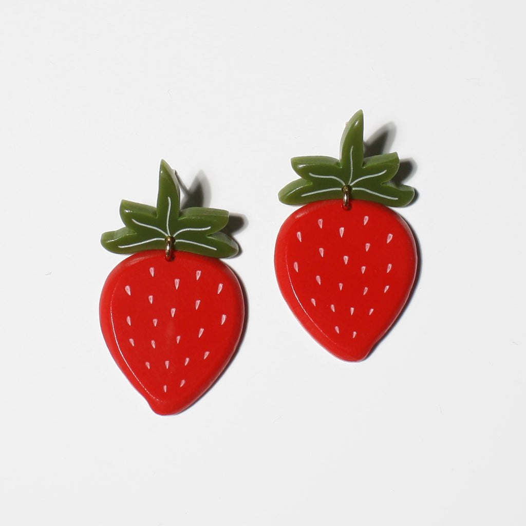 medium strawberry earrings