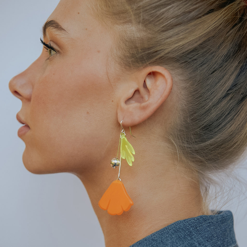 California Poppy Charm Earrings - Melon