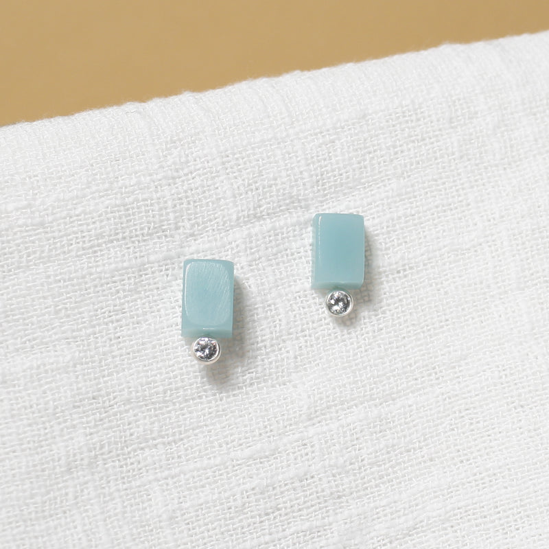 blue rectangle studs with cubic zirconia