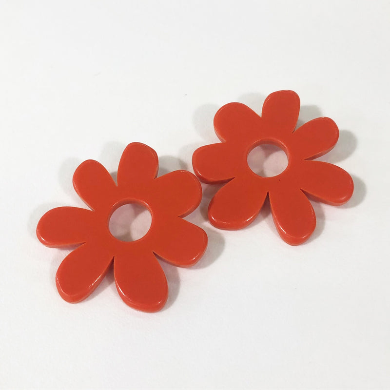 large flower earrings in red